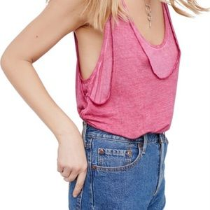 Free People Pink Karmen Layered Tank Top Small